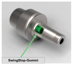 Profilbild des SwingStop mit Schwingungsdämpfung in der Werkzeugaufnahme